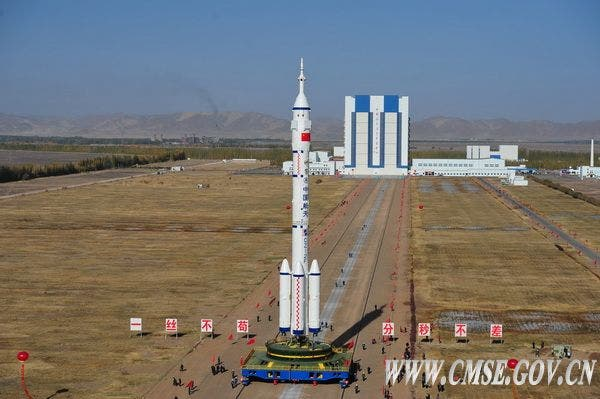 China's Shenzhou 8 spacecraft is due to launch atop a Chinese Long March 2F rocket Oct. 31 at 5 p.m. EDT (6 a.m. local time on Nov. 1) from the Jiuquan Satellite Launch Center in Inner Mongolia. (c) China Manned Space Engineering