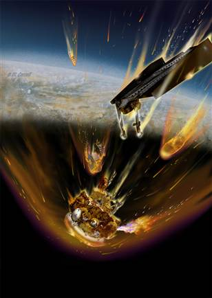 Artist impression of the Phobos-Grunt probe bursting into flames as it enters Earth's atmosphere. (c) Michael Caroll