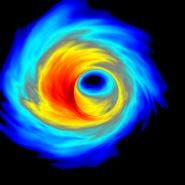 Computer simulation of superheated plasma swirling around the black hole at the center of our galaxy. (Image by Scott Noble/RIT)
