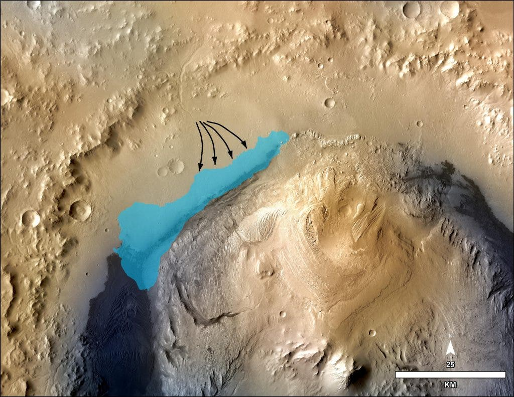 This illustration depicts a concept for the possible extent of an ancient lake inside Gale Crater. Image Credit: NASA/JPL-Caltech/MSSS