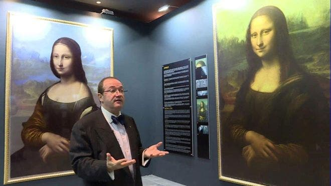 Mr. Cote, next to a digital reconstruction (left) of the different Mona Lisa portrait he found. Image: Brinkworth Films