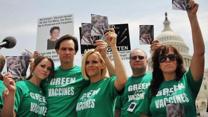 Celebrities endorsing an anti-vaccine rally. Credit: io9 // Gizmodo