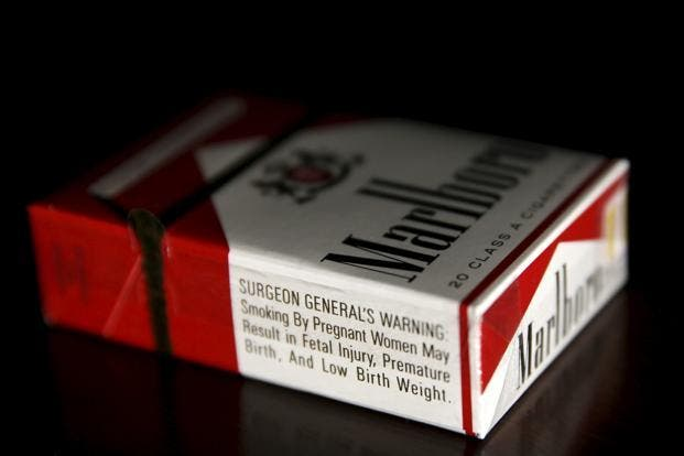 What the current smoking warnings look like in the U.S. These are printed on the side, and not on the front where they're most visible. The label is basically unchanged for more than fifty years. Credit: LiveMint