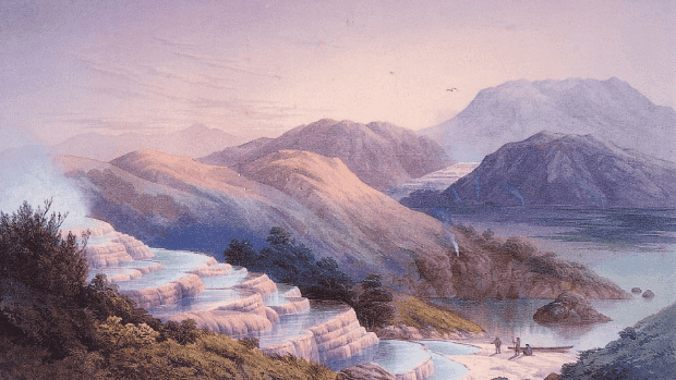 The Pink and White Terraces, as painted by JC Hoyte in the 1870s. Credit: HOCKEN COLLECTIONS, OTAGO UNIVERSITY.