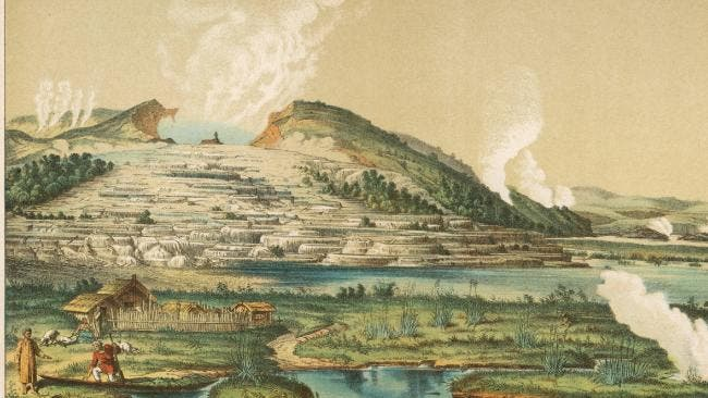 Pink and White Terraces by Lake Rotomahana, North Island, New Zealand Date: circa 1866. Public Domain.