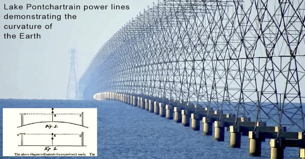 Power lines over Lake Pontchartrain elegantly demonstrate the