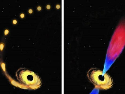 Artist illustration of a stellar disruption by a supermassive black hole. The disk that forms around the black hole and jetted outflow are ocupled, new research finds. The disk is the driving force behind the jet. Credit: Amadeo Bachar.