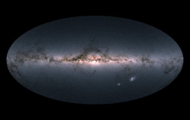 The map shows the total brightness and colour of stars observed by the ESA satellite in each portion of the sky between July 2014 and May 2016. Brighter regions indicate denser concentrations of especially bright stars, while darker regions correspond to patches of the sky where fewer bright stars are observed. Credit: Gaia Data Processing and Analysis Consortium (DPAC).