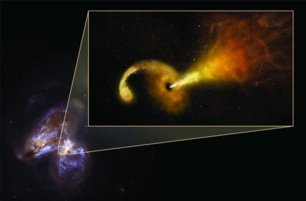 Artist impression of Tidal Disruption Event (TDE) in Arp 299. Background image is a Hubble Space Telescope image of Arp 299, a pair of colliding galaxies. Credit: Sophia Dagnello, NRAO/AUI/NSF; NASA, STScI.