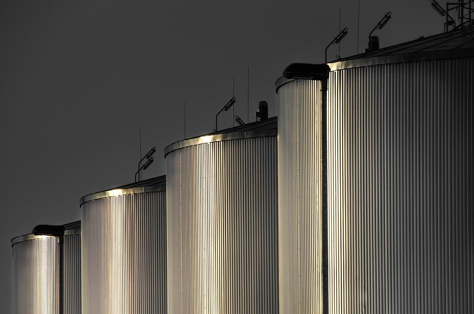 Refinery tanks.