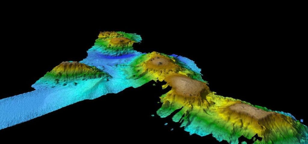 Researchres found a chain of underwater volcanoes 400 kilometers (250 miles) east of Tasmania. Credit: CSIRO.