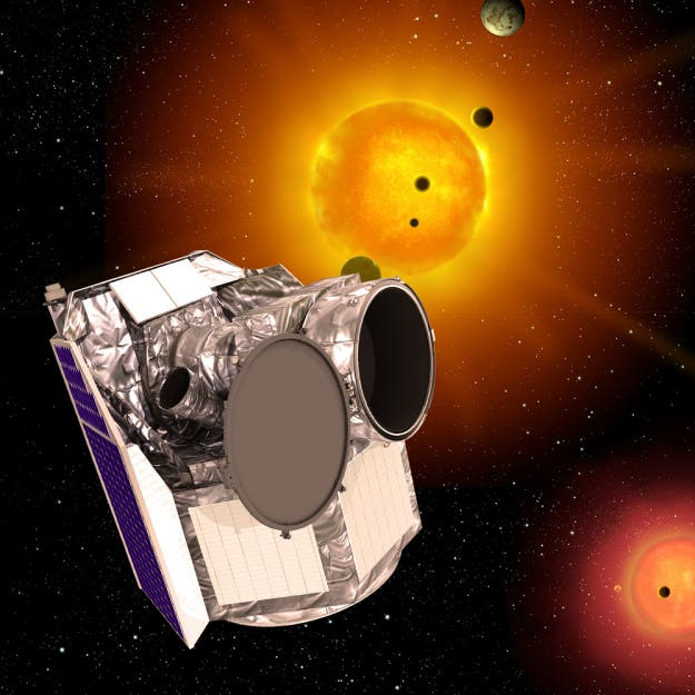 An artist's impression of the CHEOPS telescope--the ESA's first S-Class project which will search for suitable exoplanets for future investigations (ESA)
