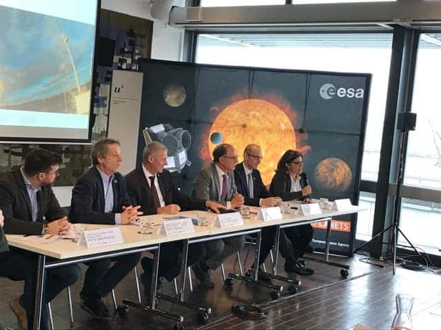 From Left to Right: David Ehrenreich, Willy Benz, Christian Leumann, Renato Krpoun and Kate Issak discuss the CHEOPS mission at the University of Bern (Robert Lea)